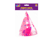Pack of 12 - Happy Birthday Party (Paper Cone Hats Fun Game)