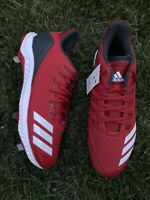 Adidas Men's Icon Bounce Baseball Shoes Red Gray Low Top Cleats CG5242 Size 10.5