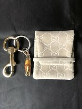 Auth Gucci Bamboo Key Holder/Bag Charm W/ Grey Velvet Pouch-Beautiful Condition