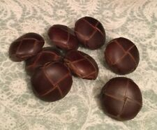 8 x Brown Faux Leather Buttons 26mm