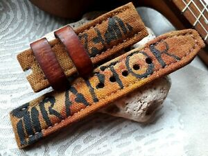 24mm, canvas and AMMO leather, Handmade watch strap, Raptor F-22 aircraft