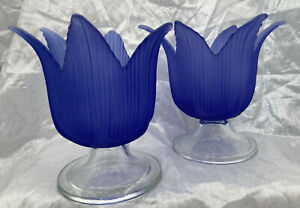 """2 Votive Candle Holders Sapphire Blue Frosted Fluted Glass Lily Shape 6"""" Footed"""