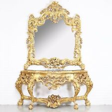 CONSOLE - GOLD ROYAL CONSOLE WITH MIRROR IN WOODEN FRAME #MB150
