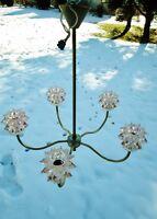 ancien lustre rose en verre avec facettes-aluminium doré-5 lumières-vintage-1960