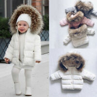Winter Kid Baby Toddler Boy Girl Warm Faux Fur Hooded Jacket Coat Outerwear Warm