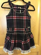 NWT Girl's Size 8 John Galliano Kids Black Pink Plaid Romper Dress Made in Italy