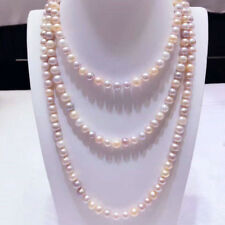 Fashion Natural 7-8mm Multi-Color Akoya Cultured Pearl Necklace 50'' JN1788
