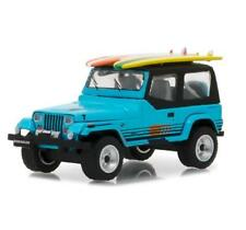 1/64 Greenlight 1987 Jeep Wrangler YJ with Surf Board Diecast Blue 97020C