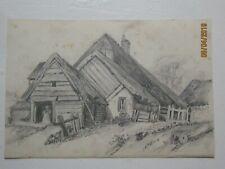 Dessin : maison de montagne en bois. Femme devant   Non signé .F.Ehrmann ?