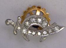 Antique Vintage Platinum & 14k Yellow Gold back Genuine Diamonds  Lapel Pin #39