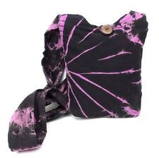 Tie Dye Purse Black Pink Cotton Passport Small Crossbody Bag Hippie Boho