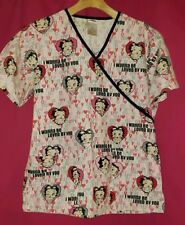 "Betty Boop Womens Scrub Top Sz S Red & Pink ""I Wanna Be Loved by you"" Uniform"