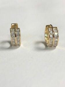 10kt Yellow Gold PRINCESS CUT CZ 5MM Baby Huggies Earrings - FREE SHIPPING!