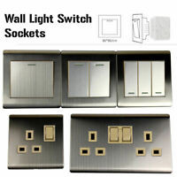 1/2/3 Light Switch Electrical Mains Socket Finger Plate Single Double Screw-less