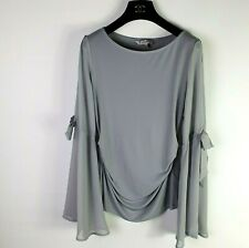 Coast Dove Grey Ruched Top Size 10 Slit Bow Bell Sleeve Blogger Style