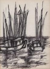 JEANETTE WELTY CHELF Pen Drawing ABSTRACT IMPRESSIONISM BOATS AT SEA c1960