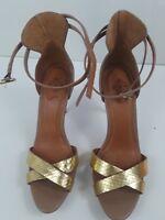 Velez Women's Pump Heels Peep Toe Beige &Gold Ankle Strap  Buckle S 38EUR 7.5US