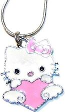 Hello Kitty Look Pink Heart Charm Necklace