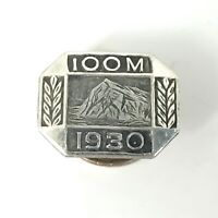 1930 100M Silver Sales Award Lapel Pin Prudential Insurance Rock of Gibraltar