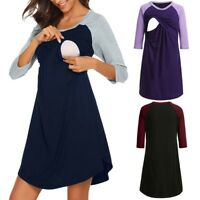 Women's Maternity Dress Nursing Nightgown Breastfeeding Nightshirt Sleepwear L