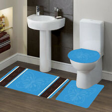 New Bathroom Set Bath Rug Contour Mat Toilet Lid Cover #7 Butterfly Turquiose