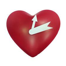 AMORE orologio parete a cuore in plastica rosso e lancette bianche circa 20x25cm