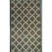 Hall Runner Carpet Rug 66cm wide Rubber Backed Seaspray Moroccan Brown Silver