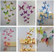 3D Schmetterlinge 12er Set Dekoration Wandtattoo Wandaufkleber Deko Sticker bunt