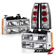 1988-1993 Chevrolet CK 1500 2500 3500 Chrome Headlight Red Brake Taillight Lamps