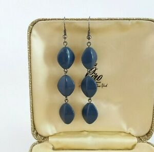 Vintage style Retro 80s 60s air force blue plastic or lucite bead long earrings