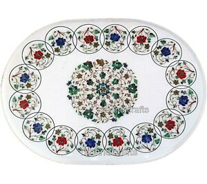 Gemstones Inlay Art Coffee Table Top White Marble Patio Sofa Table 24 x 36 Inch