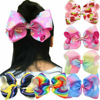 Lots 6Pcs/set Kids Girls Rainbow Colors Bow Knot Ribbon Hairbands Hair Clips