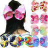 Lots 6Pcs/set Kids Girls Rainbow Colors Bow Knot Ribbon Hairbands Hair Clips
