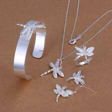 925 Silver plated Crystal Dragonfly Bracelet Earrings Ring Necklace Jewelry Sets