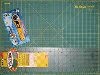 "OLFA SET Rotary Cutter RTY-2/G , Cutting Mat RM-IC-S 24"" x 18"" & Ruler 6"" x 24"""