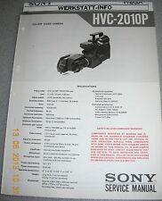 SONY HVC-2010P Color Video Camera Service Manual inkl. Werkstatt Info