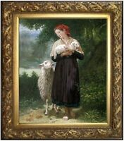 Framed,  Bouguereau the Shepherdess Repro Hand Painted Oil Painting 20x24in