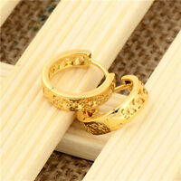 14*4mm Girls 24k Yellow Gold Filled Children's Hollow Out Flower Hoop Earing