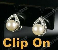 CLIP ON pearl&crystal DIAMANTE rhinestone stud EARRINGS