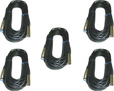 5 PACK 25 FT 3 Pin XLR Male to Female MICROPHONE audio cord mic Shielded cable