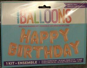 Happy Birthday Balloon Banner Kit - 13 Air Fill Balloons 4.26m (14ft) In Length