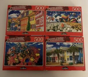"LOT OF 4 Puzzlebug 500 Piece Jigsaw Puzzles 18.25"" X 11"" New!"