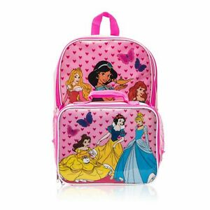 Disney Princess Backpack with Detachable Lunch Box 2 Piece Set for Kids - pink