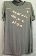 NEW CACIQUE GRAY & PINK GRAPHIC SLEEP TEE SHIRT GOWN FALL IN LOVE PLUS 14/16 1X