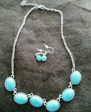 Earrings Fashion jewelry set Turquoise and Silver Necklace and
