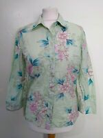 NEXT Size 12 Pale GREEN & PINK Floral EMBROIDERED 3/4 Sleeve BLOUSE/SHIRT