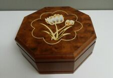 Vintage 1976 Gunther Mele Mirror Wood Jewelry octagon Box painted flower on lid