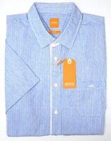 NWT $95 Hugo Boss Blue Stripe Shirt SS Mens XL EslimyE 50286946 460 Slim Fit