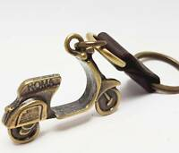 Vespa 3D Scooter brass tone & handmade leather Charm Keyring Keychain Key Chain