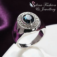 18K White Gold Plated Made With Swarovski Crystal Oval Cut Sapphire Men's Ring